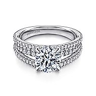 Norma 18k White Gold Round Straight Engagement Ring angle 1