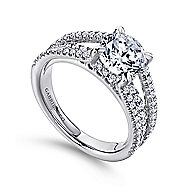 Norma 18k White Gold Round Straight Engagement Ring angle 3