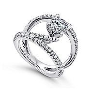 Nova 14k White Gold Round Split Shank Engagement Ring angle 3