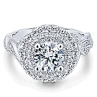Nymphea 14k White Gold Round Double Halo Engagement Ring angle 1