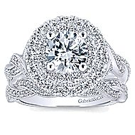 Nymphea 14k White Gold Round Double Halo Engagement Ring angle 4