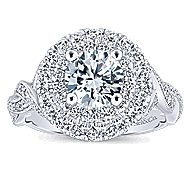 Nymphea 14k White Gold Round Double Halo Engagement Ring angle 5