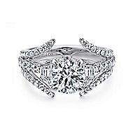 Nysa 14k White Gold Round 3 Stones Engagement Ring angle 1