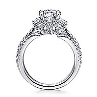 Nysa 14k White Gold Round 3 Stones Engagement Ring angle 2