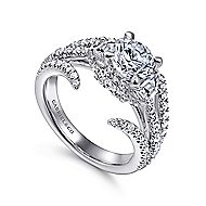 Nysa 14k White Gold Round 3 Stones Engagement Ring angle 3
