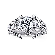 Nysa 14k White Gold Round 3 Stones Engagement Ring angle 5