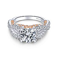 Ohana 18k White And Rose Gold Round Twisted Engagement Ring angle 1