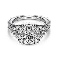 Ollie 14k White Gold Round Halo Engagement Ring