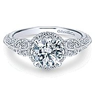 Orchid 14k White Gold Round Halo Engagement Ring angle 1