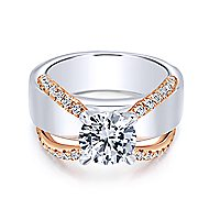 Orleans 18k White And Rose Gold Round Straight Engagement Ring angle 1