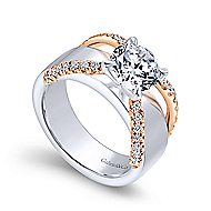 Orleans 18k White And Rose Gold Round Straight Engagement Ring angle 3