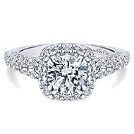 Osaka 14k White Gold Round Halo Engagement Ring angle 1