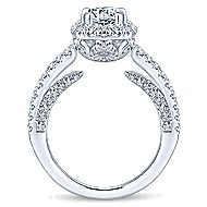 Osaka 14k White Gold Round Halo Engagement Ring angle 2