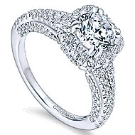 Osaka 14k White Gold Round Halo Engagement Ring angle 3