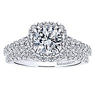 Osaka 14k White Gold Round Halo Engagement Ring angle 4