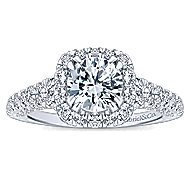 Osaka 14k White Gold Round Halo Engagement Ring angle 5