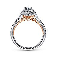 Oslo 14k White And Rose Gold Oval Double Halo Engagement Ring angle 2