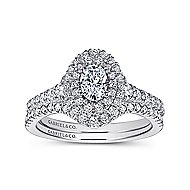Oslo 14k White And Rose Gold Oval Double Halo Engagement Ring angle 4