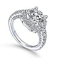 Otis 18k White Gold Round Halo Engagement Ring angle 3