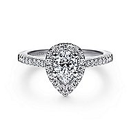 Paige 14k White Gold Pear Shape Halo Engagement Ring angle 1