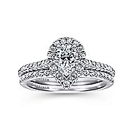 Paige 14k White Gold Pear Shape Halo Engagement Ring angle 4