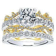 Paisley 18k Yellow And White Gold Round Free Form Engagement Ring angle 4