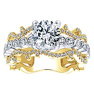 Paisley 18k Yellow And White Gold Round Free Form Engagement Ring angle 5