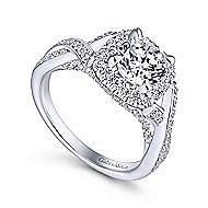 Paris 14k White Gold Round Halo Engagement Ring angle 3