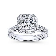 Patience 14k White Gold Princess Cut Halo Engagement Ring angle 4