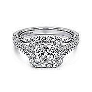 Paz 18k White Gold Princess Cut Halo Engagement Ring angle 1