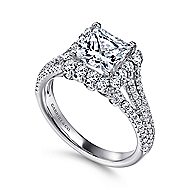 Paz 18k White Gold Princess Cut Halo Engagement Ring angle 3