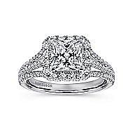 Paz 18k White Gold Princess Cut Halo Engagement Ring angle 5