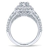 Peony 14k White Gold Round Double Halo Engagement Ring angle 2
