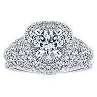 Peony 14k White Gold Round Double Halo Engagement Ring angle 4