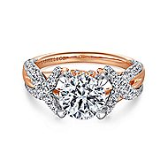 Peppa 18k White And Rose Gold Round Twisted Engagement Ring angle 1