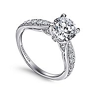 Peregrine 18k White Gold Round Straight Engagement Ring angle 3