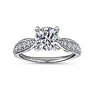 Peregrine 18k White Gold Round Straight Engagement Ring angle 5