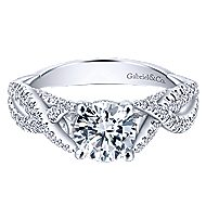 Periwinkle 14k White Gold Round Twisted Engagement Ring angle 1