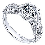 Periwinkle 14k White Gold Round Twisted Engagement Ring angle 3