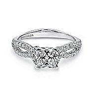 Peyton 14k White Gold Princess Cut Twisted Engagement Ring angle 1