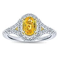 Philomela 14k Yellow And White Gold Oval Halo Engagement Ring