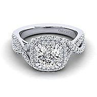 Pippa 14k White Gold Cushion Cut Double Halo Engagement Ring angle 1