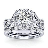 Pippa 14k White Gold Cushion Cut Double Halo Engagement Ring angle 4
