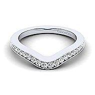 Platinum Contemporary Curved Wedding Band angle 1