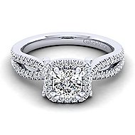 Platinum Cushion Cut Halo Engagement Ring angle 1
