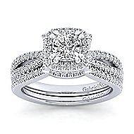 Platinum Cushion Cut Halo Engagement Ring angle 4
