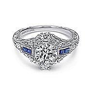 Platinum Diamond & Sapphire Eng Ring