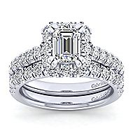 Platinum Emerald Cut Halo Engagement Ring angle 4