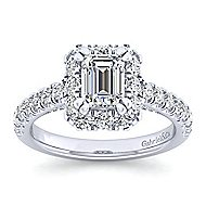 Platinum Emerald Cut Halo Engagement Ring angle 5