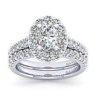 Platinum Oval Halo Engagement Ring angle 4